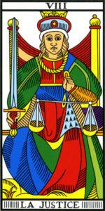 Image de la carte de la Justice du Tarot de Marseille